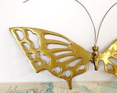 Vintage Brass Butterfly Wall Hanging