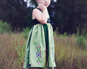Frozen Anna Dress,  Anna's Coronation Day Dress inspired by Disney's Princess Anna, sizes 2T-8girls