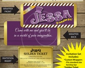 Printable - Wonka Inspired Chocolate Bar Wrappers with Golden Ticket