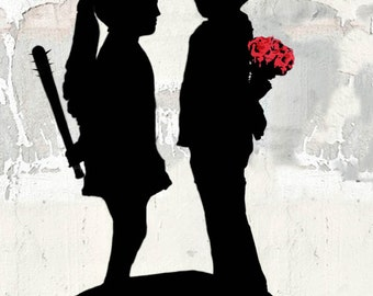 Banksy Canvas (READY TO HANG) - Girl Meets Boy  - Multiple Canvas Sizes