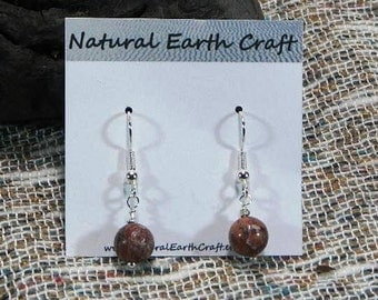 Multicolor leopard  jasper earrings multicolored rounds semiprecious stone jewelry packaged  in a colorful gift bag 2663