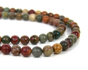 Red Creek Jasper 6mm round natural colorful gemstone beads, full & half strands available (671s)