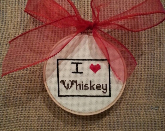 I Love Whiskey Vodka Tequila or Wine Cross Stitch Framed Needlepoint with Throw Pillow Option