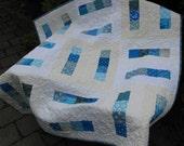 Teal Blue Modern Patchwork Baby or Toddler Quilt