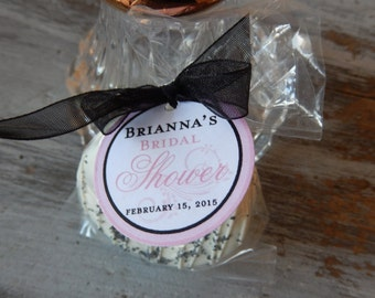 Baby or Bridal Shower Custom Paper Favor Tags - For Cake Pops - Cookies - Lollipops - Party Favors - 1.5 inch personalized circle tags (60)