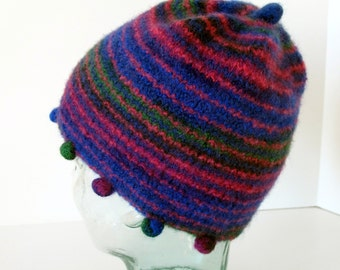 Winter Sale - Girl's Blue & Bright Pink Felted Hat with Bobbles