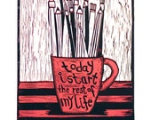 linocut, Red Letter Day, black, red, white, printmaking, quote, new start, creative, artist, writer, starting out, office art, home interior