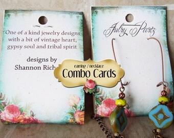 25 SHABBY #1 Combo Card, Earring/Necklace Cards, Jewelry cards, Earring Display, Earring Holder, Necklace Holder, Custom Card