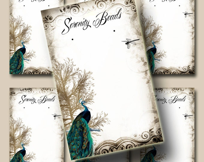 Peacock Fantasy, Earring Cards, Jewelry cards, Earring Display, Earring Holder, Necklace Holder, Custom Earring Card