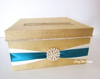 Wedding Card Box Money Holder with Rhinestones - Custom Made to Order