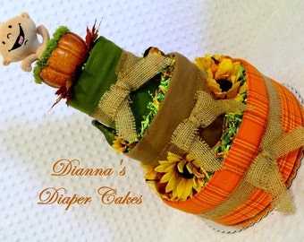 Pumpkin Autum Baby Diaper Cake YOU GIVE INPUT Created per Order Shower Gift or Centerpiece
