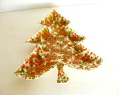 Vintage Mid Century Modern Christmas Tree Tray Catch All green orange splatter pattern