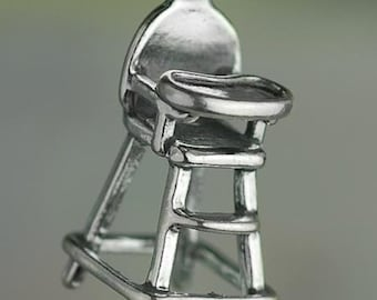 Sterling Silver Baby High Chair Charm Infant New Mom 3D Solid .925