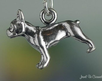 Sterling Silver Boston Terrier or French Bulldog Charm 3D Solid .925