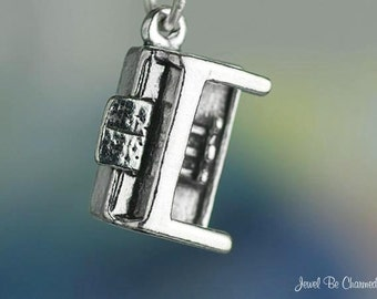 Piano Charm Sterling Silver Upright Music Instrument 3D Solid .925
