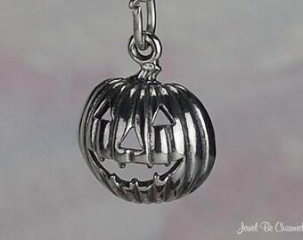 Sterling Silver Jack-o-Lantern Pumpkin Charm Halloween Solid .925