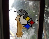 Pittsburgh Penguin, Pirate, Steeler Design Faux Stain Glass Sun Catcher