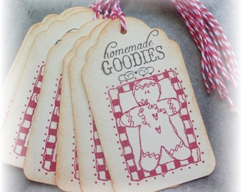 Gingerbread - Homemade Goodies - Gingerbread n Checks - Gift/Hang Tags (8)