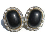 Black & White Rhinestone Clip On Earrings with Plastic Oval Cabochons - Vintage Jewelry Formal Evening Events
