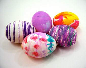 5 Handmade natural blown Easter eggs, dyed painted decorated holiday home decor purple pink yellow teal white pastels children art craft fun