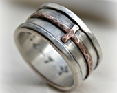 mens cross wedding band - rustic hammered cross ring, oxidized fine silver, sterling, copper ring, handmade Christian wedding band, Jesus