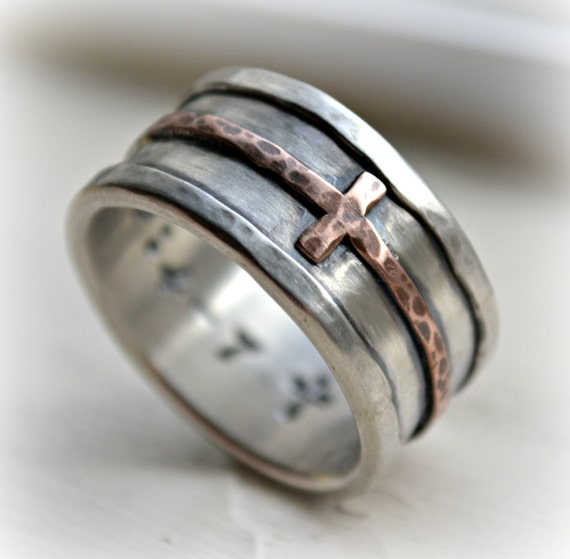 Mens Cross Wedding Band Rustic Hammered Cross Ring Oxidized Fine