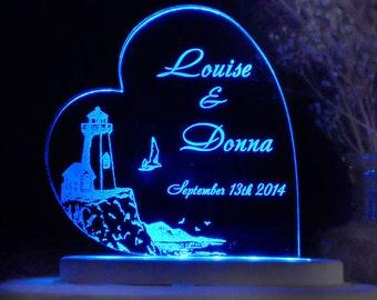 Lighthouse - Nautical  Wedding Cake Topper -  Acrylic -Personalized - Light EXTRA