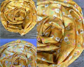 Scarf Beautiful Sari Scarf Versatile Upcycled VINTAGE Sari - floral yellow - autumn winter accessories