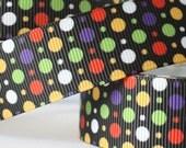 CLEARANCE SALE*FREE Shipping ~ 5 yards x Grosgrain Ribbon 22mm colorful Round Dots Ribbon, Ribbon Bow Ribbon-Sewing Notions-Scrapbooking