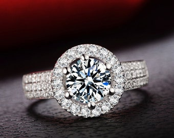 ADRIANNA Ring 1 Carat Halo Diamond Engagement Ring in 18k White Gold