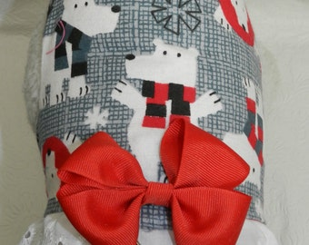 I'm a Polar Princess! Gray POLAR BEAR Snow Flake Winter Christmas Holiday Harness with Bow/Lace. Custom made for your Cat, Dog or Ferret.