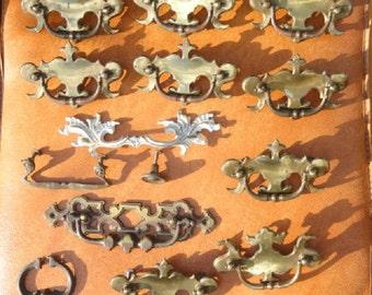 brass hardware, mixed media art supply, brass hardware, scroll pattern, drawer pulls, 14 pieces, antique hardware