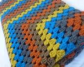 Crochet blanket - lap blanket - sofa blanket - grey brown blue - granny square