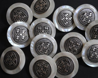 """Buttons 12 Pearl White Finish Shank Buttons 1 & 1/8""""  or 7/8"""" sizes NEW"""