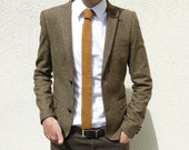 READY TO SHIP golden mustard brown knit tie - standard length - square end