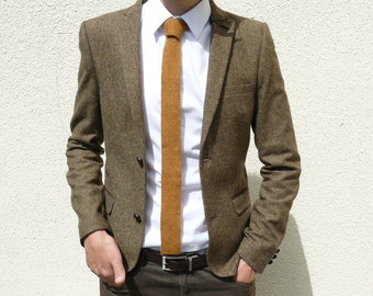 READY TO SHIP golden mustard brown knit tie - standard length