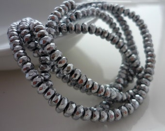 Pretty silver coated hematite faceted rondelle beads 4mm 1/2 strand