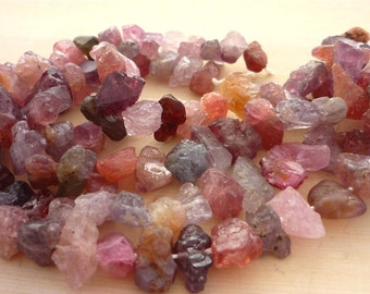Pretty rough mulit colored spinel nugget beads 10-14mm 1/2 strand