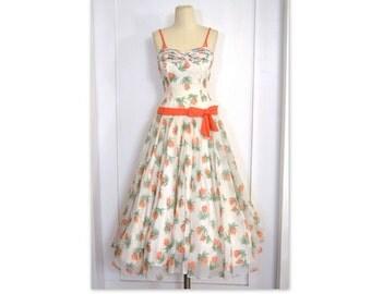 Vintage 1950's Dress / Floaty Sheer White Dress w/ Bolero Jacket // White 50's Dress w/ Novelty Print