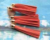 10pcs 85mm Gold cap--orange suede leather tassel findings pendants