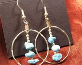 Sale - Sister Gift for her - Turquoise Earrings - Silver Turquoise Nugget Dangle Earrings ER69
