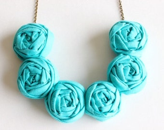 Teal necklace, Teal fabric flower necklace, Teal statement necklace