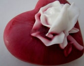 HEART SOAP BAR - gifts for woman, heart with rose soap, gifts for teens, Stocking stuffer for her
