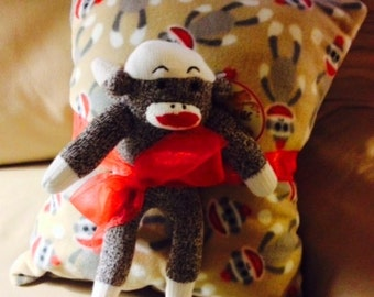 MONKEY BUSINESS Soft Fleece Pillow with Sock Monkey Toy and Treats