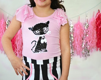 Girls vintage style tank top with cat applique Pepe tank