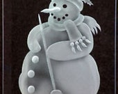 Carved GlassSnowman with Broom Hanging Suncatcher on 6x9 Beveled glass with Handcrafted Base