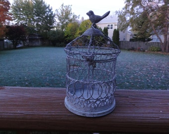 small plant of bird cage hinged at top for home decor use