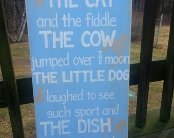 Hey Diddle Diddle SIGN cat and the fiddle Cow jumped over the Moon Subway Distressed Blue Handmade Hand-painted Wooden 12x24 WHAGN