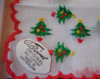 BURMEL Embroidered Swiss Christmas Trees Handkerchief Hankie New Old Stock in Box