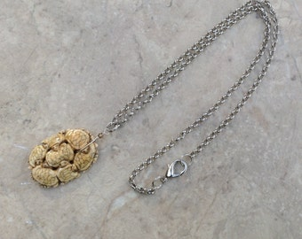 Bone Turtle Cluster on Long Silver Chain